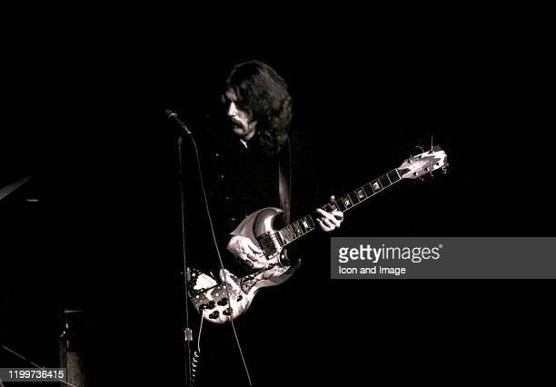 English rock and blues guitarist, singer, and songwriter, Eric Clapton, performs as a member of Cream at the Sam Houston Coliseum on March 31 in...