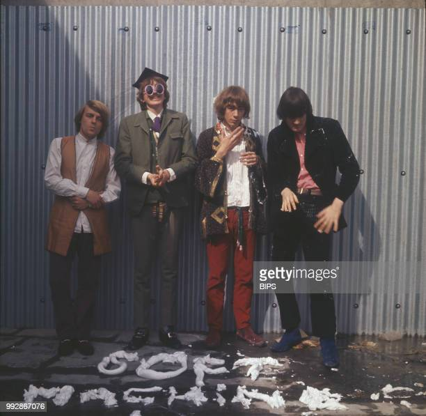 English rock and jazz band The Soft Machine in front of a whipped cream written of their band's name UK January 1967 they are Robert Wyatt Daevid...