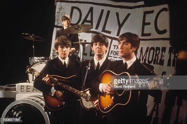English rock and pop group The Beatles, from left George Harrison, Ringo Starr , Paul McCartney and John Lennon, perform 'I Want To Hold Your Hand'...