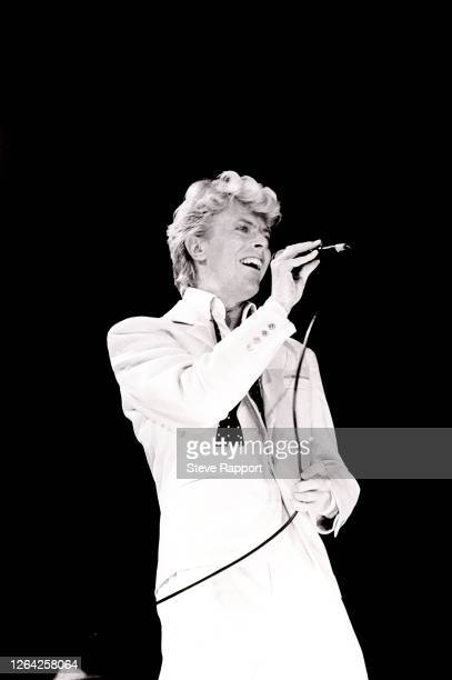 English Rock and Pop musician David Bowie , during his 'Serious Moonlight' tour at National Exhibition Centre , Birmingham, 6/5/1983.