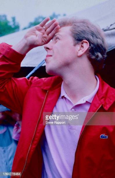 English Rock and Pop musician Mick Talbot, of the group the Style Council, Glastonbury Festival, 6/22/1985.
