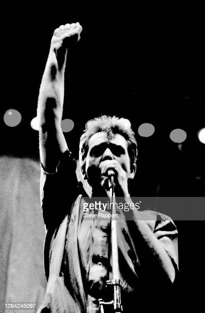 English Rock and Pop musician Peter Gabriel performs onstage during the Artists Against Apartheid Freedom Festival, Clapham Common, London, 6/28/1986.