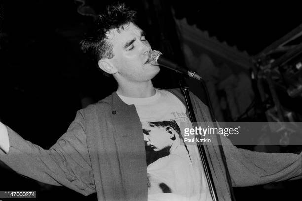 English Rock and Pop singer Morrissey of group the Smiths performs onstage at the Aragon Ballroom Chicago Illinois June 7 1985 The tour was in...