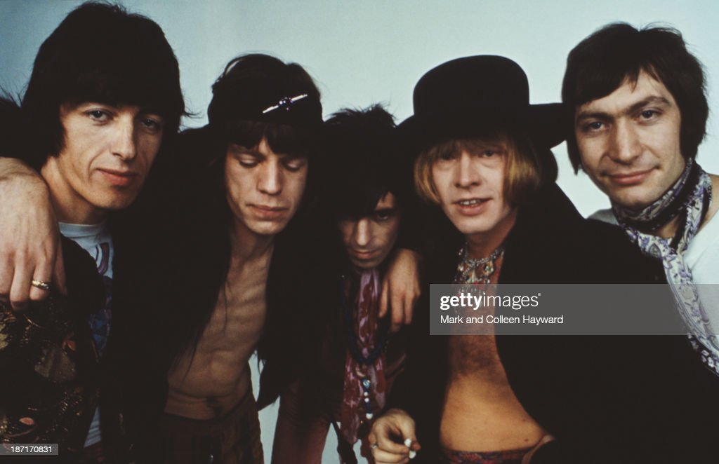 English rock and roll band The Rolling Stones posed in 1968. Left to right: Bill Wyman, Mick Jagger, Keith Richards, Brian Jones (1942 - 1969) and Charlie Watts.