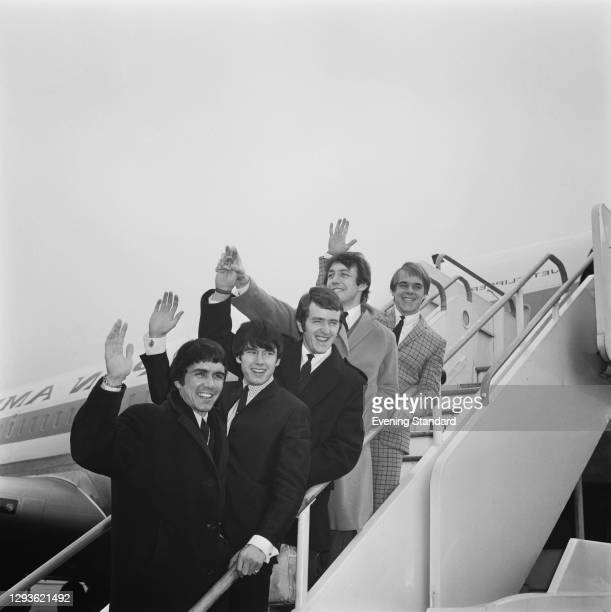 English rock and roll group the Dave Clark Five at London Airport, UK, 1966. From left to right, Dave Clark, Denny Payton, Rick Huxley, Mike Smith...