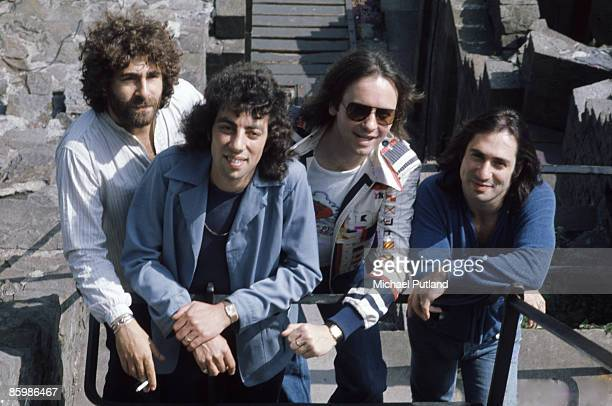 English rock band 10cc in Wales 1975 From left to right Kevin Godley Graham Gouldman Eric Stewart and Lol Creme