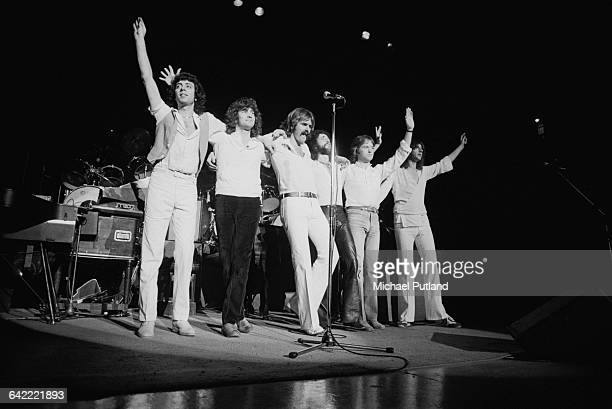 English rock band 10cc on stage at a concert on their world tour USA November 1978 Left to right Graham Gouldman Stuart Tosh Rick Fenn Kevin Godley...
