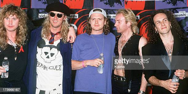 English rock band Def Leppard at the MTV Video Music Awards in Los Angeles USA on 9th September 1992 They are Rick Savage Joe Elliott Rick Allen and...