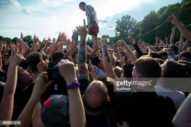 English rock band Frank Carter amp The Rattlesnakes performs stage at APE Presents festival al Victoria Park London on June 1 2018 Frank Carter amp...