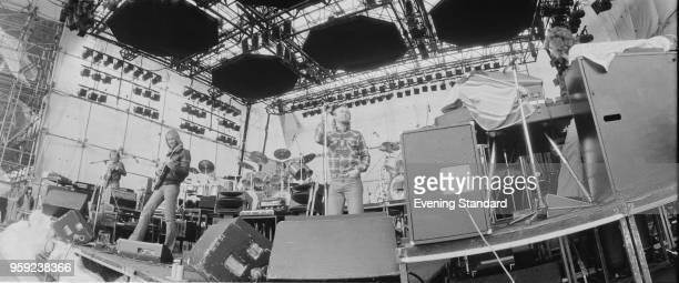 English rock band Genesis doing a sound check before A Midsummer Night's Dream festival Knebworth Festival UK 22nd June 1978
