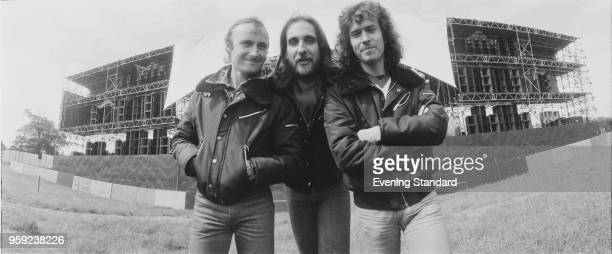 English rock band Genesis in front of the stage of A Midsummer Night's Dream festival Knebworth Festival UK 22nd June 1978 Phil Collins Mike...