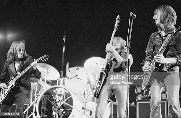 English rock band Humble Pie in concert 29th October 1972 Left to right Steve Marriott bassist Greg Ridley and guitarist Clem Clempson