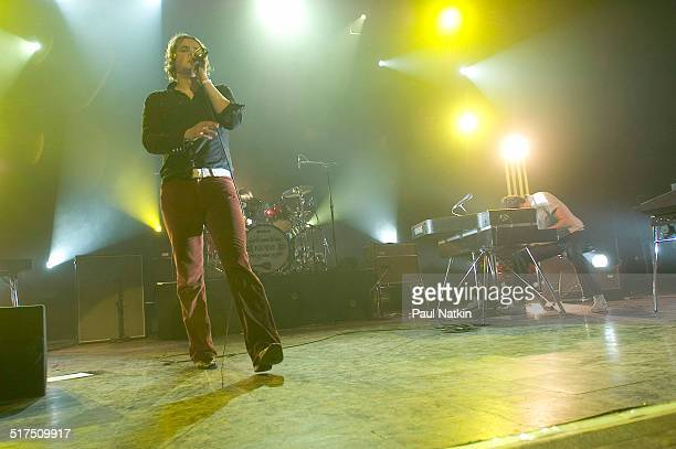 English rock band Keane performs onstage at the Riviera Theater Chicago Illinois February 17 2005 Pictured are from left Tom Chaplin Richard Hughes...