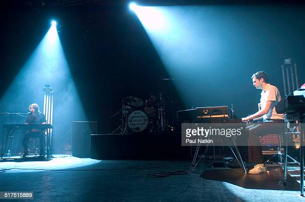English rock band Keane performs onstage at the Riviera Theater, Chicago, Illinois, February 17, 2005. Pictured are Tom Chaplin and Tim Rice-Oxley.