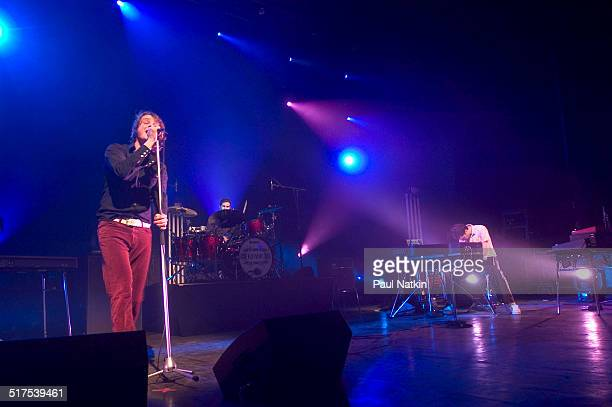 English rock band Keane performs onstage at the Riviera Theater, Chicago, Illinois, February 17, 2005. Pictured are, from left, Tom Chaplin, Richard...