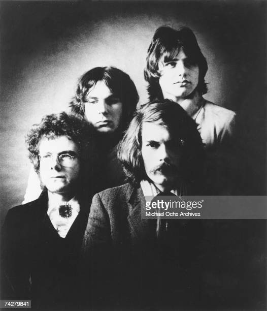 English rock band King Crimson including musical director and guitarist Robert Fripp and drummer Michael Giles pose for a portrait in 1969 Photo by...