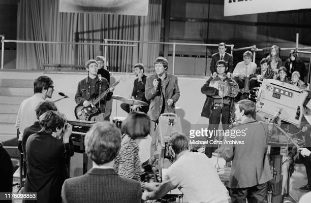 English rock band Manfred Mann perform their song 'Machines' on British television show 'Ready Steady Go' in London UK April 1966 Manfred Mann is on...