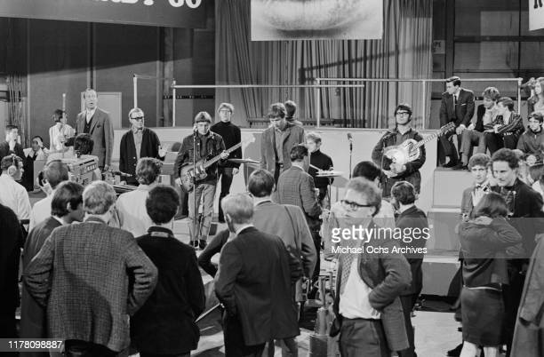 English rock band Manfred Mann perform their song 'Machines' on British television show 'Ready Steady Go' in London UK April 1966 Paul Jones is on...