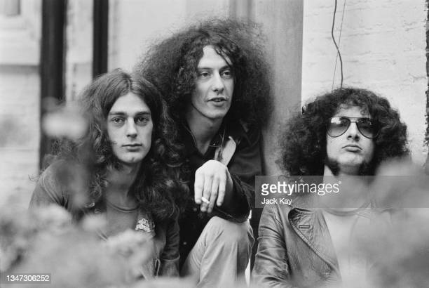 English rock band Pink Fairies, UK, 6th October 1972. From left to right, they are Duncan Sanderson, Russell Hunter and Mick Wayne.