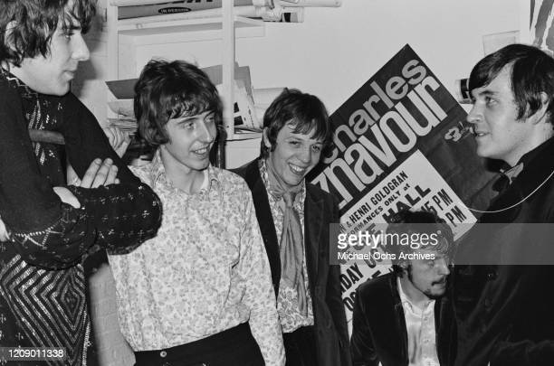 English rock band Procul Harum backstage at the Cafe Au Go Go in New York City 26th October 1967 From left to right they are drummer BJ Wilson...