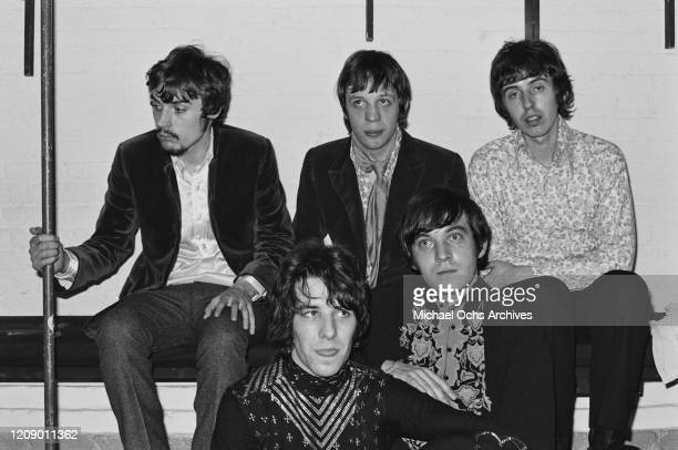 English rock band Procul Harum backstage at the Cafe Au Go Go in New York City 26th October 1967 From left to right they are guitarists Matthew...