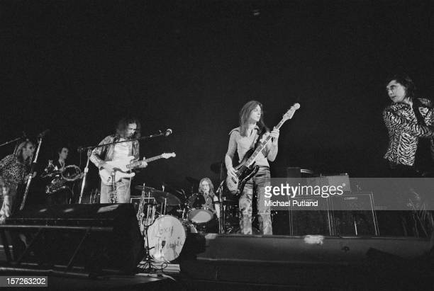 English rock band Roxy Music on stage at the Empire Pool Wembley London 30th June 1972 From left to right Brian Eno Andy Mackay Phil Manzanera Paul...