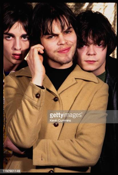 English rock band Supergrass, UK, March 1995: they are Danny Goffey, Gaz Coombes, Mick Quinn.