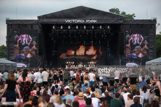 English rock band The Amazons perform live at APE Presents festival at Victoria Park London on June 1 2018 The lineup consists of Chris Alderton Matt...