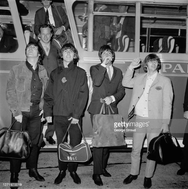 English rock band the Beatles arrive at London Airport from the USA, with their manager Brian Epstein , 2nd September 1965. From left to right, John...
