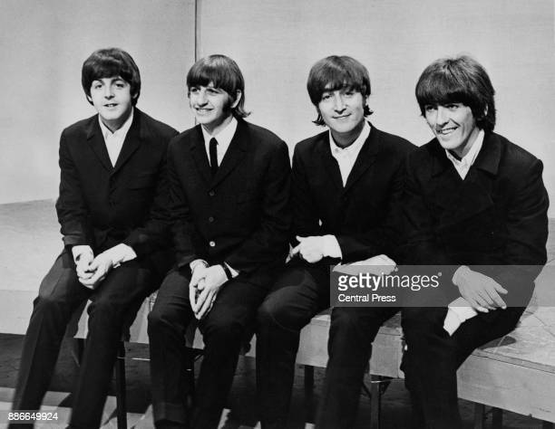 English rock band the Beatles at the BBC television studios in London before leaving for a concert tour of Germany and afterwards Japan 16th June...