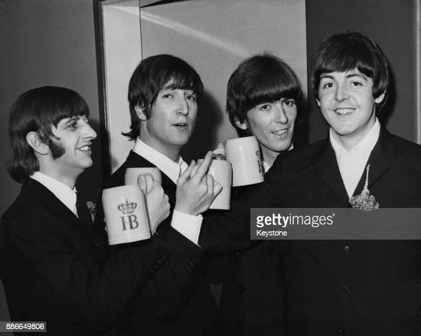 English rock band the Beatles celebrate Paul's 24th birthday 18th June 1966 From left to right they are Ringo Starr John Lennon George Harrison and...