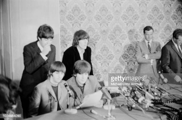 English rock band the Beatles during a press conference in New York City 1964 They are Ringo Starr John Lennon Paul McCartney and George Harrison...
