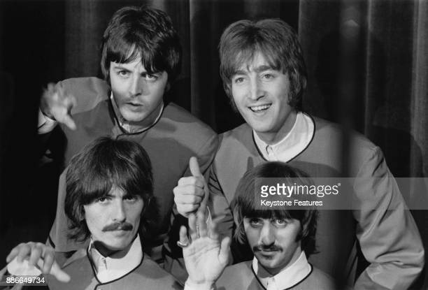 English rock band the Beatles prepare to perform their new single 'Hello, Goodbye' on stage at the Saville Theatre, London, 1967. Clockwise from top...