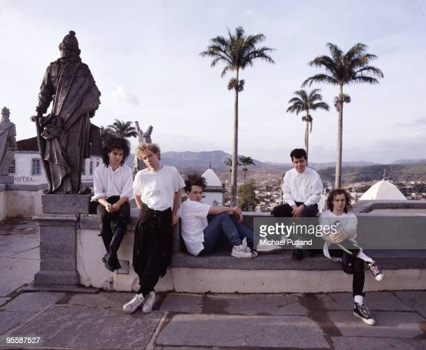 English rock band The Cure in Brazil 1987 From left to right they are bass player Simon Gallup drummer Boris Williams vocalist Robert Smith keyboard...
