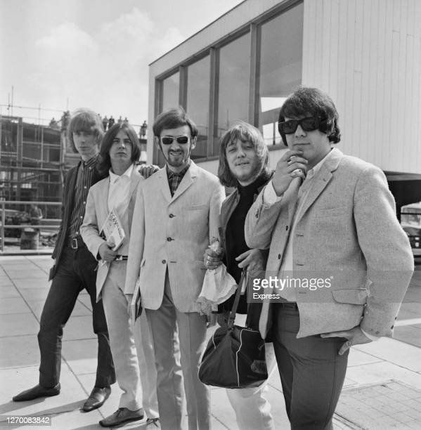 English rock band the Pretty Things leave London Airport for New Zealand, 15th August 1965. From left to right, they are guitarist Brian Pendleton,...