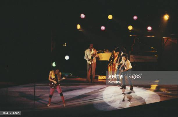 English rock band the Rolling Stones in concert in Syracuse New York State November 1981
