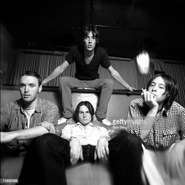 English rock band The Verve drummer Peter Salisbury guitarist Nick McCabe lead vocalist Richard Ashcroft and bassist Simon Jones pose for a July 1996...