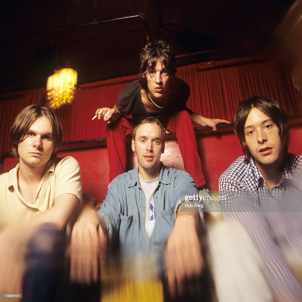 English rock band The Verve (L - R) drummer Peter Salisbury, guitarist Nick McCabe, lead vocalist Richard Ashcroft and bassist Simon Jones pose for a July 1996 portrait in New York City, New York.