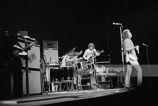 English rock band The Who in concert at the Rainbow Theatre London November 1971 From left to right bassist John Entwistle drummer Keith Moon...