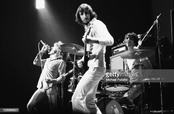 English rock band The Who in concert at the Rainbow Theatre London November 1971 From left to right singer Roger Daltrey guitarist Pete Townshend and...