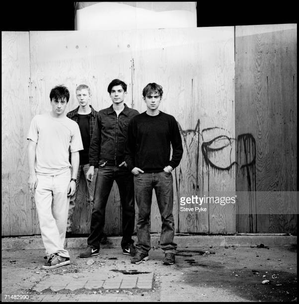 English rock group Blur from left to right guitarist Graham Coxon drummer Dave Rowntree bassist Alex James and vocalist and keyboard player Damon...
