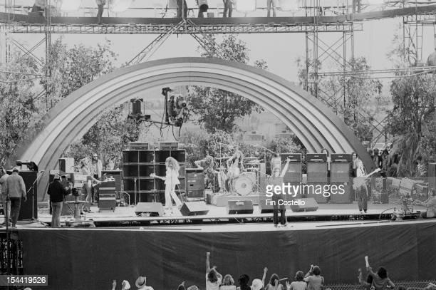 English rock group Deep Purple headlining at the California Jam rock festival, at the Ontario Motor Speedway, Ontario, California, 6th April 1974....