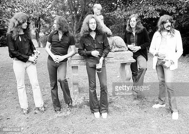 English rock group Deep Purple posed at Clearwell Castle in Gloucestershire England on 20th September 1973 Left to Right Glenn Hughes Ritchie...