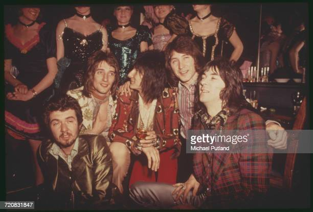 English rock group Faces at a reception at the Tramp nightclub in London for the release of their album 'Ooh La La' 5th April 1973 Left to right...