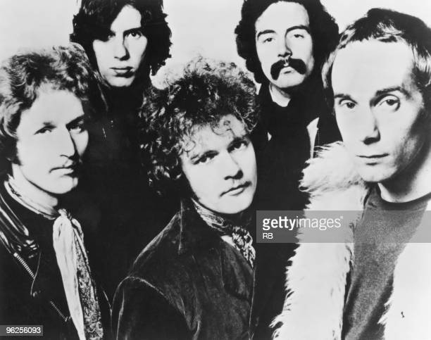 English rock group Family circa 1968 Left to right bassist Ric Grech guitarist John 'Charlie' Whitney drummer Rob Townsend saxophonist Jim King and...