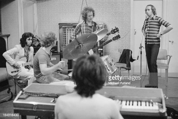 English rock group Family rehearsing in Harlesden London 17th July 1972 Left to right John Whitney Rob Townsend Jim Cregan John Palmer and Roger...