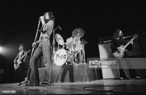 English rock group Free performing at the Royal Albert Hall London 11th February 1972 Left to right Andy Fraser Paul Rodgers and Paul Kossoff