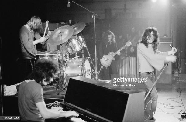 English rock group Free performing on stage in Newcastle January 1972 Left to right Simon Kirke Andy Fraser Paul Kossoff and Paul Rodgers