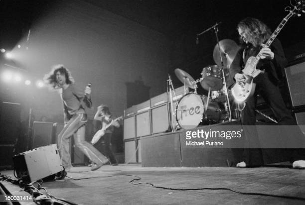English rock group Free performing on stage in Newcastle January 1972 Left to right Paul Rodgers Andy Fraser and Paul Kossoff