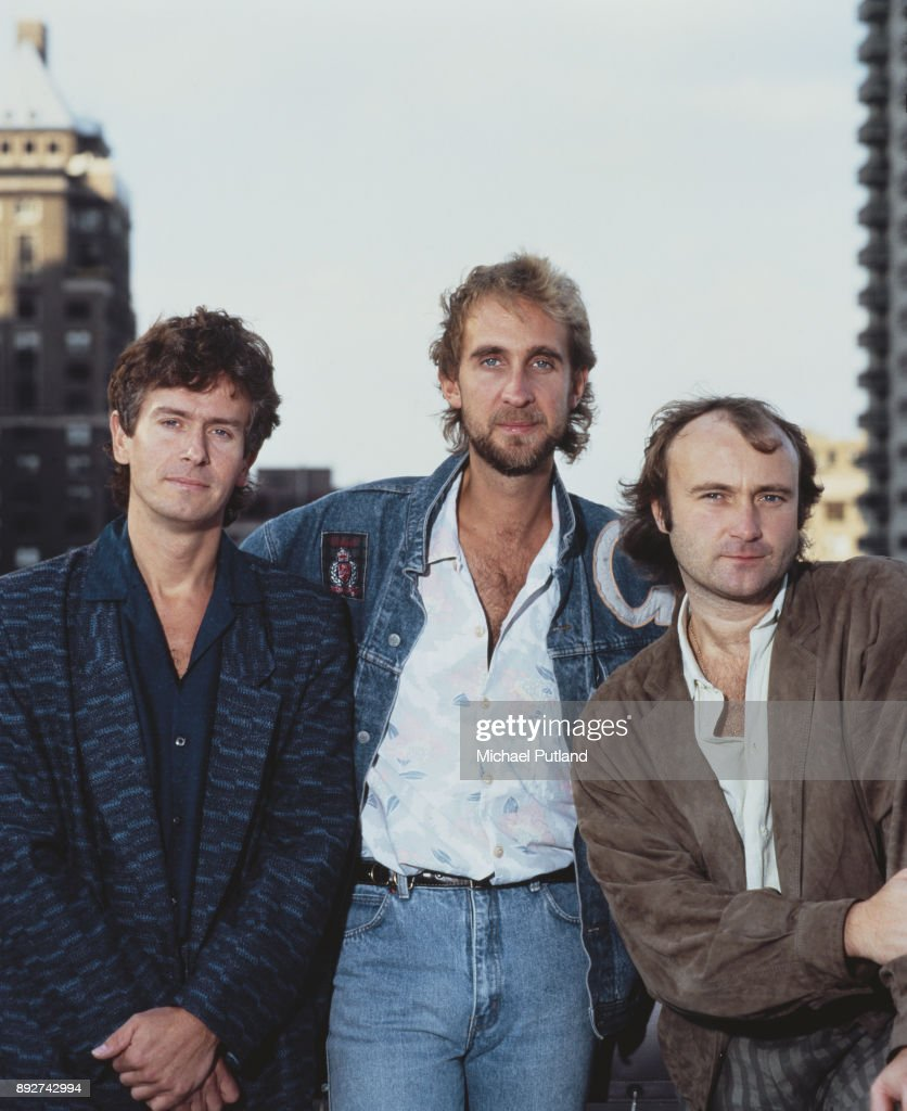 English rock group Genesis in Rosemont, Illinois, during the band's Invisible Touch Tour, October 1986. Left to right: keyboard player Tony Banks, bassist Mike Rutherford, and singer/drummer Phil Collins.